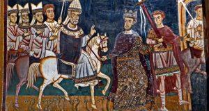 Константин I ведёт под уздцы коня, на котором восседает папа Сильвестр I. Фреска капеллы Сан-Сильвестро, до 1247 года. | Фото: ru.wikipedia.org.