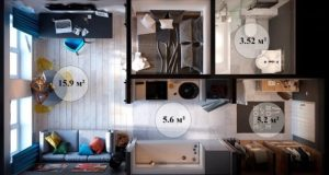 Делить площадь квартиры-студии на комнаты можно только после того, как будет готов подробный план помещения.