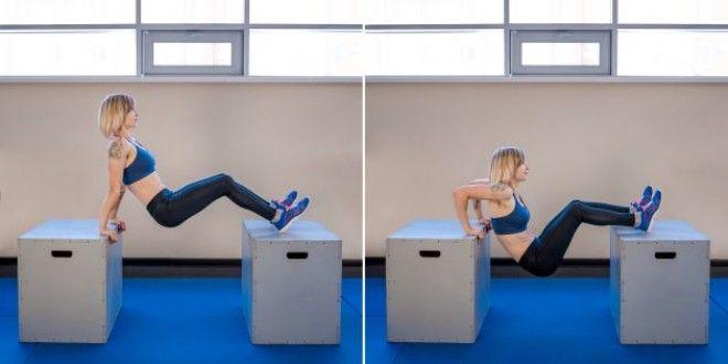 Домашние тренировки для начинающих: Обратные отжимания с ногами на возвышении
