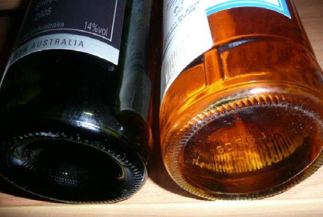 Вогнутое дно бутылок шампанского и вина